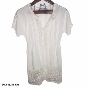 Solitaire Swim Lace Dress V-neck Cover- Up S White